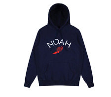 Noah Wing Foot Embroidered Hoodie Heather Evening Blue Size: Xl