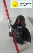 sw003 Lego Star Wars 7101 7151 7663 - Darth Maul Minifigure w Chrome Lightsaber