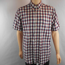 David Taylor Short Sleeve Shirt Mens Size L Large White Blue Plaid Button Down