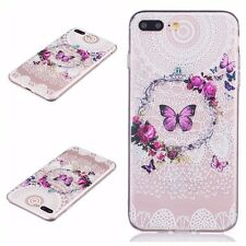 for iPhone 7+ Plus - Soft TPU Gummy Rubber Slim Case Cover Clear Butterfly Lace