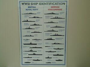 World War 2 British & German Ship Identification Poster: A3, New, Sent Folded