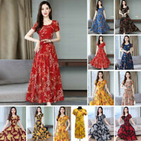 Women Summer Boho Floral Print Short Sleeve Long Maxi Dress Party Beach Sundress