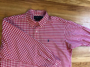 Men's Polo Ralph Lauren Blake Size XL L/S Dress Shirt Nice Pink & White