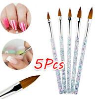 5X Sable Kolinsky Acrylic Nail Art UV Gel Carving Brush Glitter Pen Set sdjk
