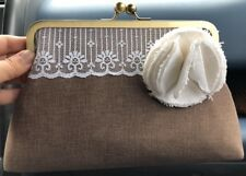 Rustic Clutch White Flower Brooch Lace Purse Bag Wedding Bride ETSY Hand Made NR
