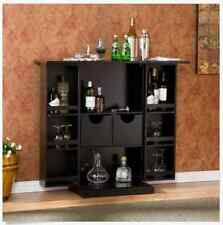 Dry Bar Wine Cabinet Fold Away Liquor Collection Storage Black Wood Furniture