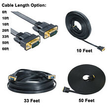 Flat VGA SVGA Monitor Cable 6 10 15 25 50 65 ft Male to Male Computer Cord Long