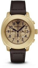 Emporio Armani Men's Sportivo Chronograph Gold Tone Brown Leather Watch AR6062