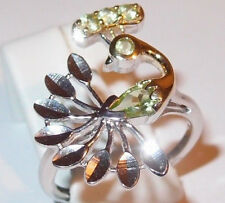 Peridot Peacock ring, in platinum/gold overlay Sterling Silver, Size R.