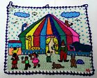 """Vintage Souvenir Mariposa Made in Peru 1 X 14.5"""" Wall Tapestry Circus Tent Scene"""