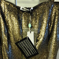 NWT JiIL SANDER, 100% Silk Pleated Skirt w/ Lining, Hand Embroidered Italy, 40/8