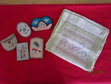 ASTOUNDING needlework,hand embroidered vintage bag,accesseries-6pcs,feedsack?