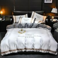Luxury Ice Silk Duvet Cover Set  Pillowcases Sheet  Bedding Set Bed 4pcs Set