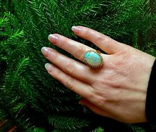 BIG natural Australian Opal and Diamonds Halo 14k gold Ring