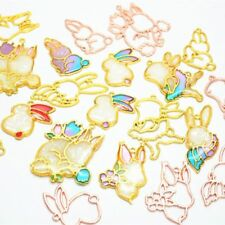 6Pcs Cartoon Rabbit Open Bezel Charm Blank Frame Pendant UV Resin Jewelry DIY