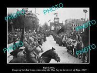 OLD POSTCARD SIZE MILITARY PHOTO WWI RIGA LATVIA RUSSIAN TROOPS CELEBRATE 1919