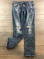 American Eagle 34 x 32 Slim Straight Medium Wash Distressed Denim Jeans