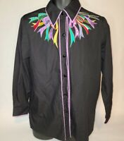 Bob Mackie Wearable Art Silk Embroidered Ribbons Button Down Shirt S