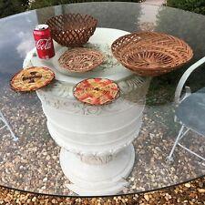 2 Baskets 1 Saucer 2 Trivets Bamboo Wicker Rattan 5 Vtg Items:Camping BBQ Picnic