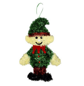 Christmas Themed Holiday Tinsel Elf On A Shelf Wall Decoration Hanging Sign 3D