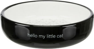 Black & White Ceramic Cat Bowl For Short-Nosed Breeds Food Water Cats Bowl Dish