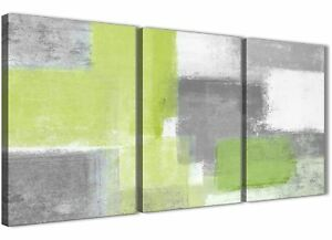 3 Piece Lime Green Grey Kitchen Canvas Accessories - Abstract 3369 - 126cm