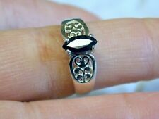 NATURAL BLACK ONYX 925 STERLING SILVER FILIGREE RING SIZE 6.5  USA MADE