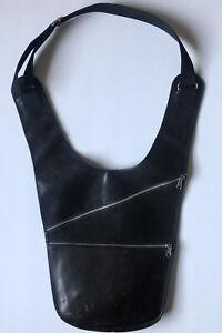 MAISON MARTIN MARGIELA Vintage 1998 Large Black Leather Messenger Saddle Bag Sac