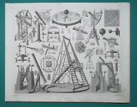 ASTRONOMY Instruments Telescopes Sextant Theodolite Circle - 1844 Superb Print