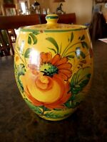 Vintage Yellow Italy Biscotti Cookie Jar Hand painted floral Flowers Chipped