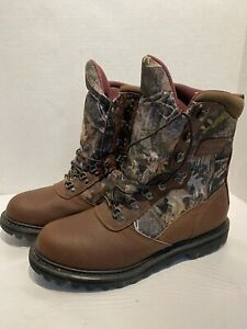 Cabelas Men 12 D Iron Ridge 800 Leather Camo Goretex Insulated Hunting Boots