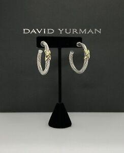 David Yurman 925 & 14k Gold Large Cable Hoop Earrings DY165