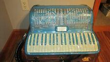 "Titano BLUE / WHITE VINTAGE Accordion  18"" Keyboard / WITH CASE"