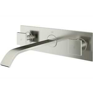 VIGO Titus 2-Handle Wall Mount Bathroom Faucet in Brushed Nickel VG05002BN