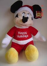 "Disney Plush Mickey Mouse Happy Holiday 18"" New Red Shirt Hat Santa Collect"