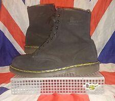 RARE England Vintage 1460*Black Suede Dr Doc Martens*8 Eye*Skinhead Punk Goth*11