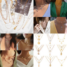 Boho Women Multi-layer Gold Silver Chain Pendant Crystal Choker Necklace Jewelry