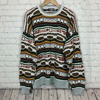 Bold Expression Mens Sweater Size XL Made in USA 3D Textured VTG 90s