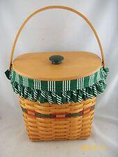 Longaberger 1998 Holiday Hostess Winter Wishes Basket Combo w Lid Green Stripe