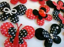 80 Red & Black Satin Polka Dot/Felt Fabric Butterfly Applique/Layer/craft H295