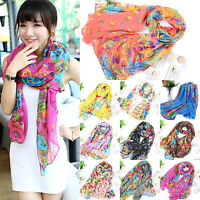 Women Summer Holiday Floral Beach Long Scarf Stole Shawl Wrap Soft Voile Scarves