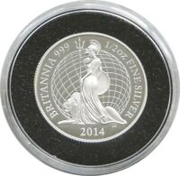 2014 British Royal Mint Britannia £1 One Pound Silver Proof Coin
