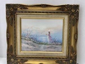 "Seascape Painting Girl Seashore 8x10"" Gold Wood Ornate Frame 15""x13.75"" Vintage"