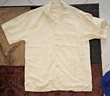 TOMMY BAHAMA 100% SILK S/S HAWAIIAN CAMP SHIRT Pale Yellow S Textured Floral