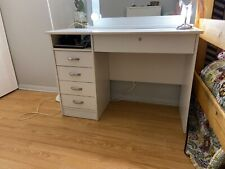 Vanity Makeup Desk with 4 drawers, Tvilum Warner - White (mirror no Included)