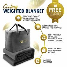 """Cooling Weighted Blanket All Seasons.100% Bamboo Duvet Cover 20 lbs 60X80"""""""