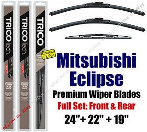 Wipers 3pk Premium Front & Rear fit 1995-1996 Mitsubishi Eclipse 19240/220/30190