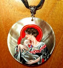 J.C. Leyendecker pendant Russian Hand painted SHELL Madonna and Child signed ART