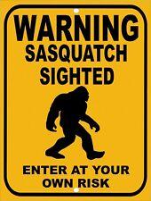 "Warning Beware BIG FOOT Sasquatch Sighted Enter Risk Funny Metal Sign 9""x12"""