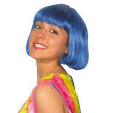 Adult Ladies Bob Wig Bright Royal Blue for 20s Flapper Short Fancy Dress Accesso